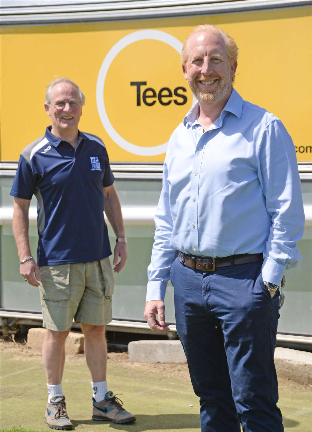 BSRFC chairman Colin Tilley, left, and Tees group managing director Ashton Hunt at Silver Leys. Picture: Vikki Lince