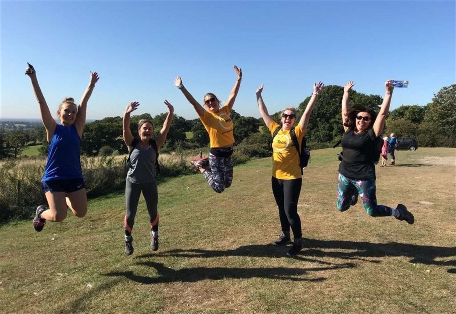 Tees team jumping for joy after London peaks challenge