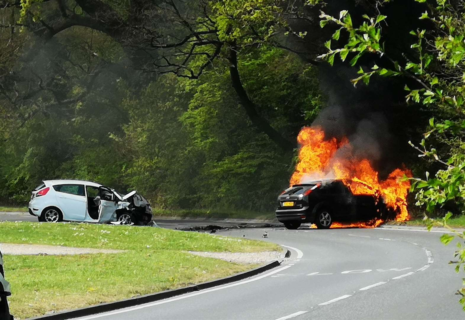 Little Hallingbury crash fireball: Two drivers seriously injured