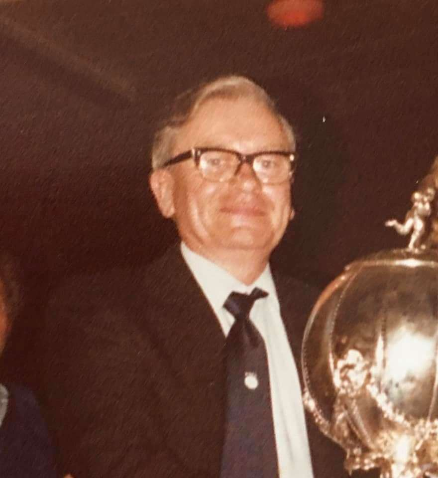 The late Vernon Woodcock with the FA Trophy at post-match celebrations in the clubhouse at Bishop's Stortford's old Rhodes Avenue ground. Picture: Bill Sibson