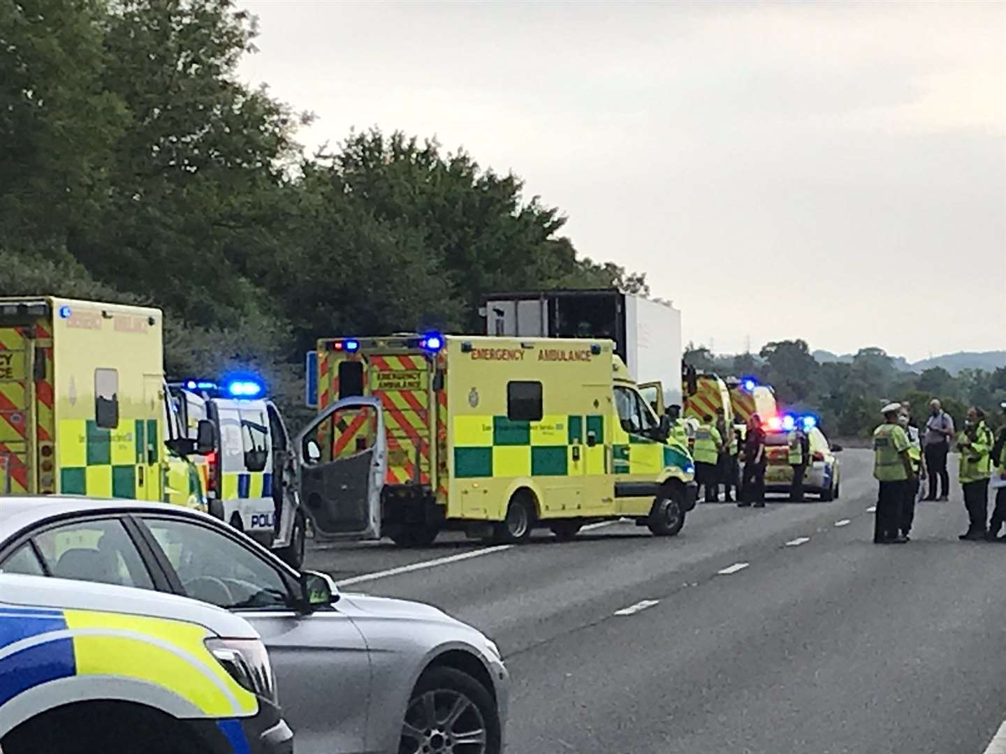 Police and paramedics at the scene on the M11 (36851955)