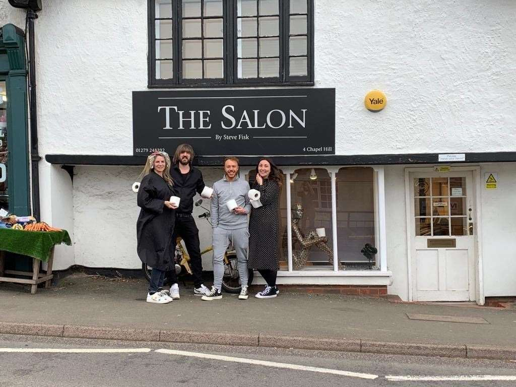 Staff and customers of The Salon in Stansted are prepared! Steve Fisk pictured second from left. (42104021)