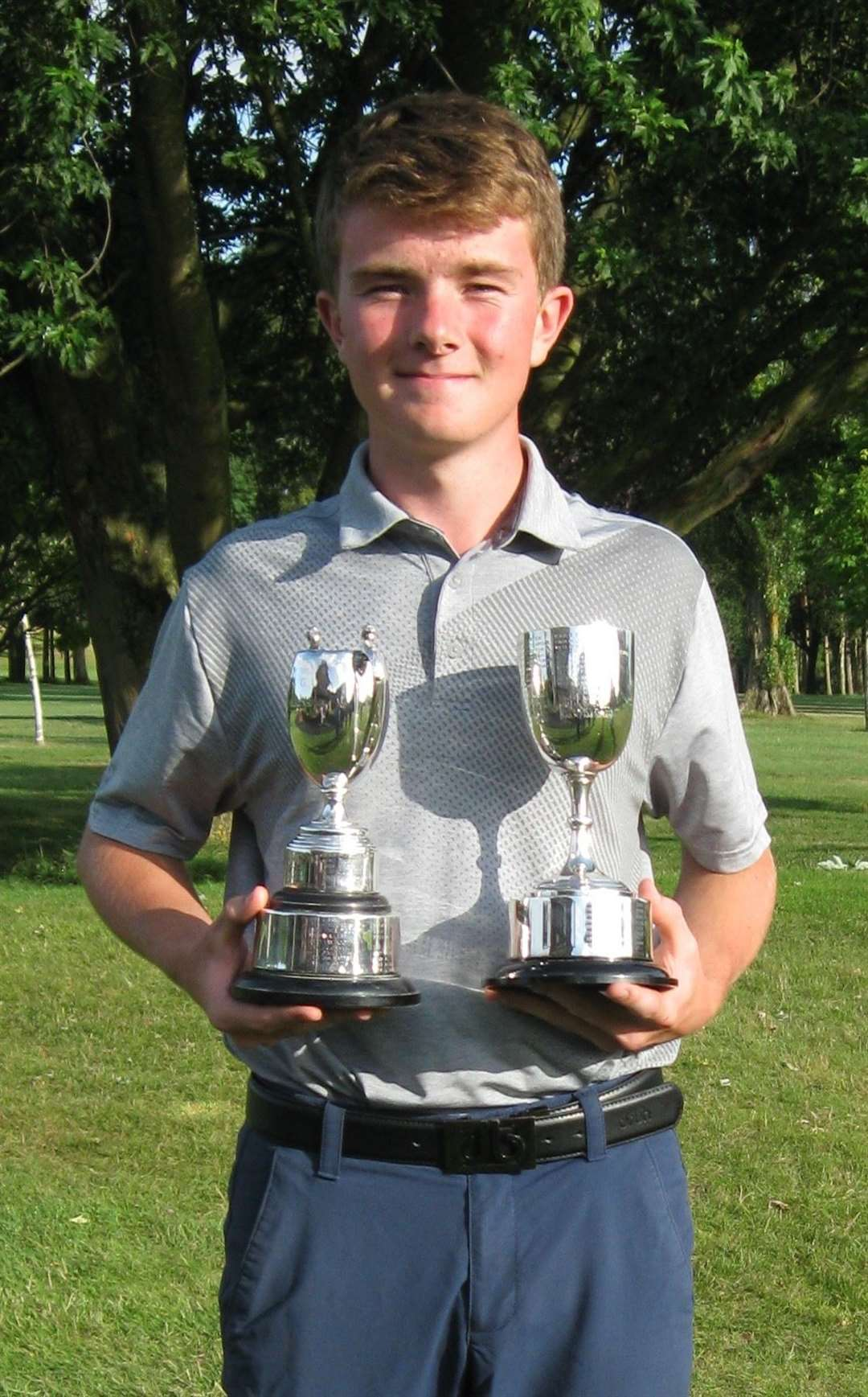 George Durkan with his under-18 and under-16 Hertfordshire Boys' Championship trophies (14798397)