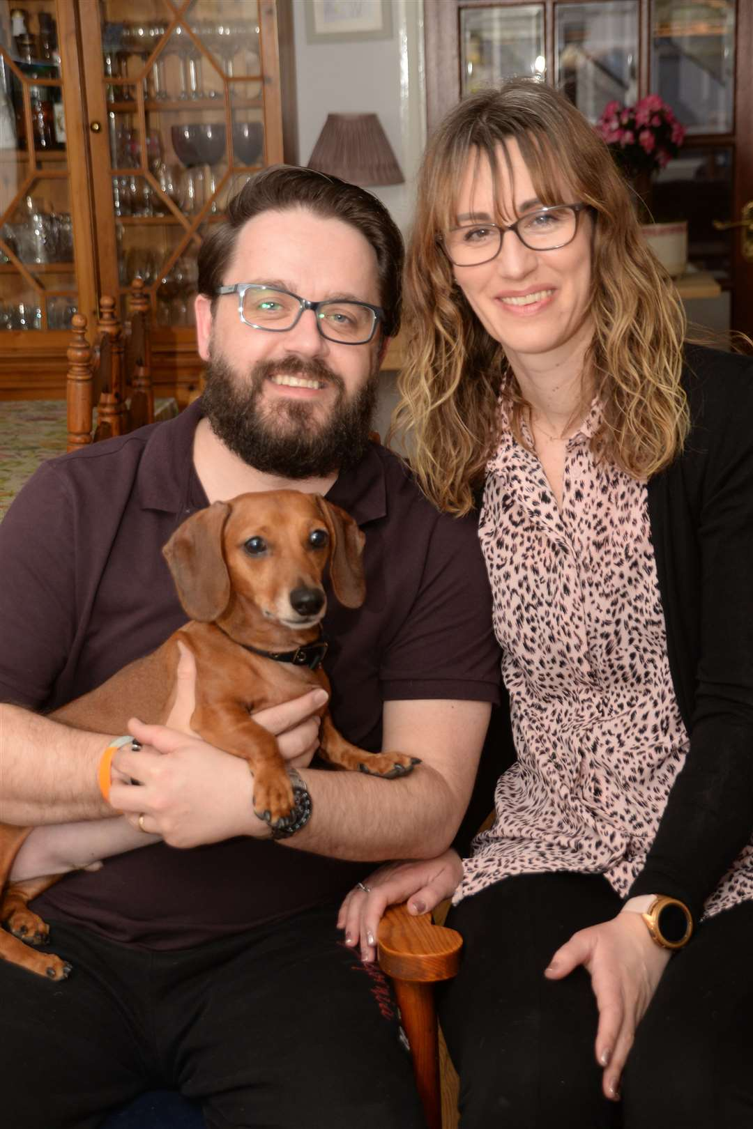 James and Nicole Gavin with Frank the dachshund. Pic: Vikki Lince. (45400414)