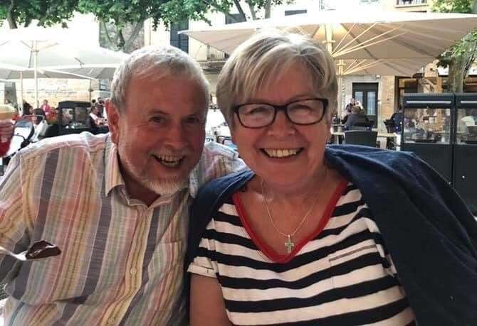 John Johnson-Cook with wife Pam on holiday in Majorca in July 2019 to celebrate his 70th birthday and daughter Claire's 40th (34229527)