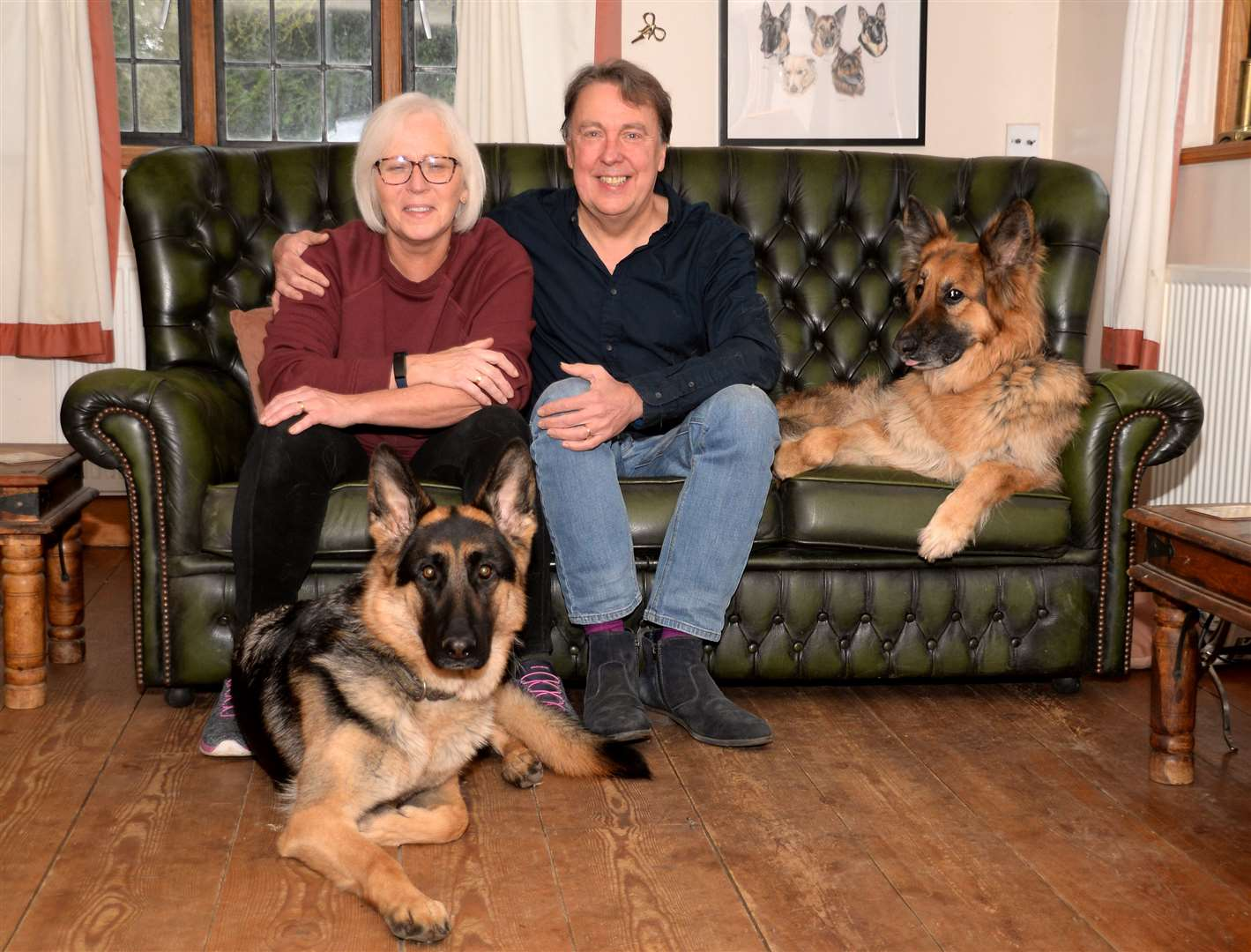 Great Hallingbury. Carl and Val Waring with dogs Ellie and Freddie. Pic: Vikki Lince (28863040)