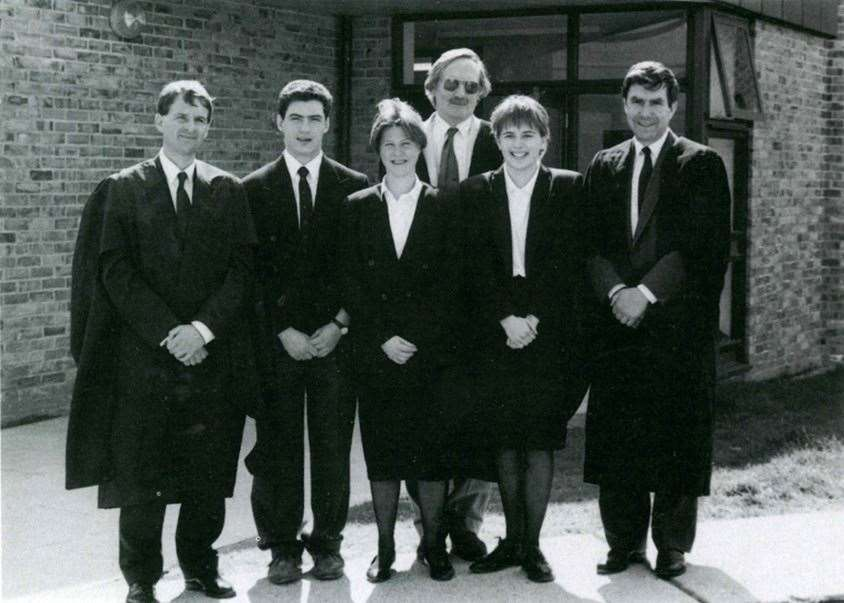 Ian Shaw, back, and deputy heads Paul Noble, left, and Roger Cooke with students in 1991 (7988654)