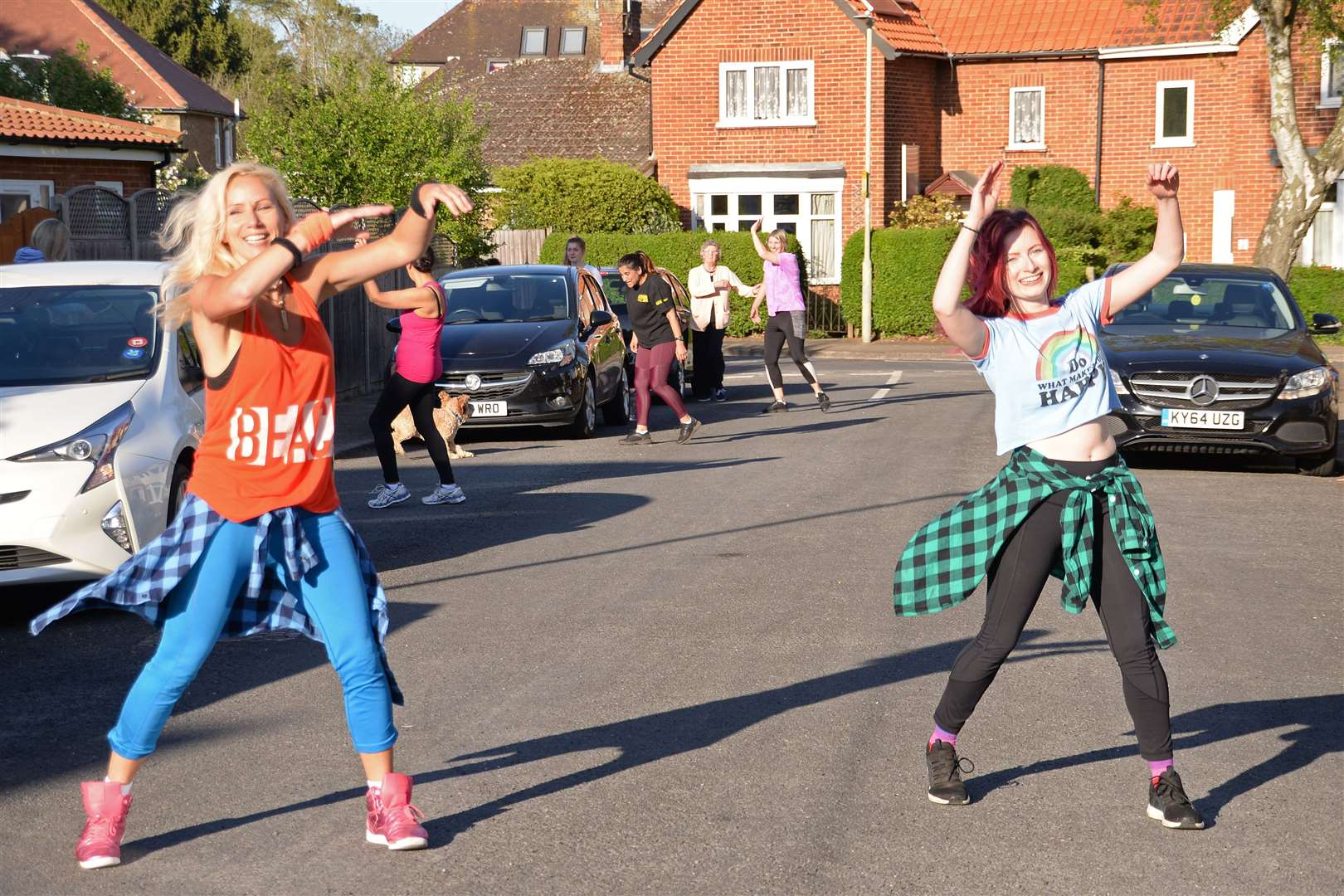 Highfield Avenue, Bishop's Stortford.Zumba Instructor Petra Bonich and partner Nina Griffiths lead a morale boosting Zumba session for their neighbours. .Pic Vikki Lince. (33812537)