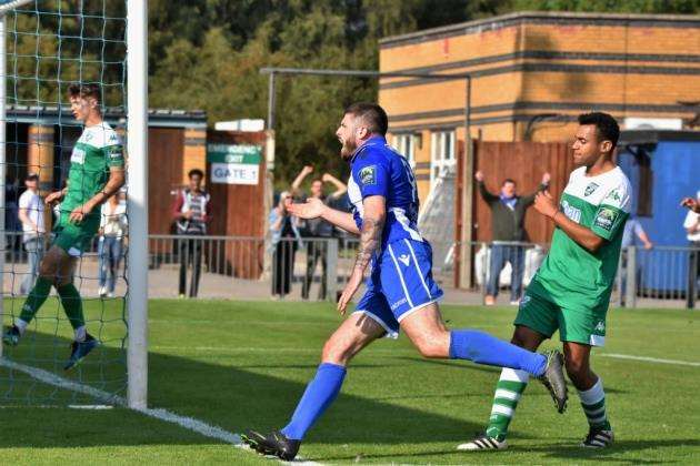Blues v Leatherhead: Jake Cass celebrates his goal Pic: Nathan Cracknell