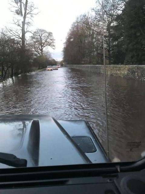 The section of the B1383 between Newport and Saffron Walden on Monday after the River Cam burst its banks on Friday (43436435)