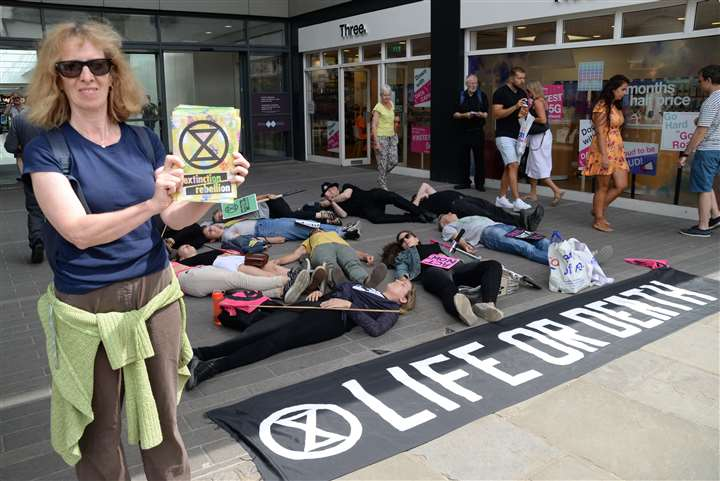 Jackson Square, Bishop's Stortford. Members of East Herts Extinction Rebellion take part in a 'die-in' to publicise their cause. Picture: Vikki Lince (41144055)
