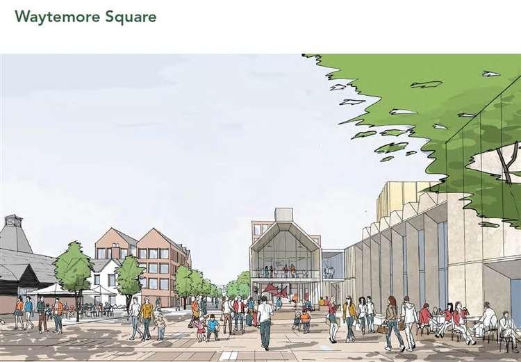 Artist's impression of the original arts centre plans in Waytemore Square (46333020)