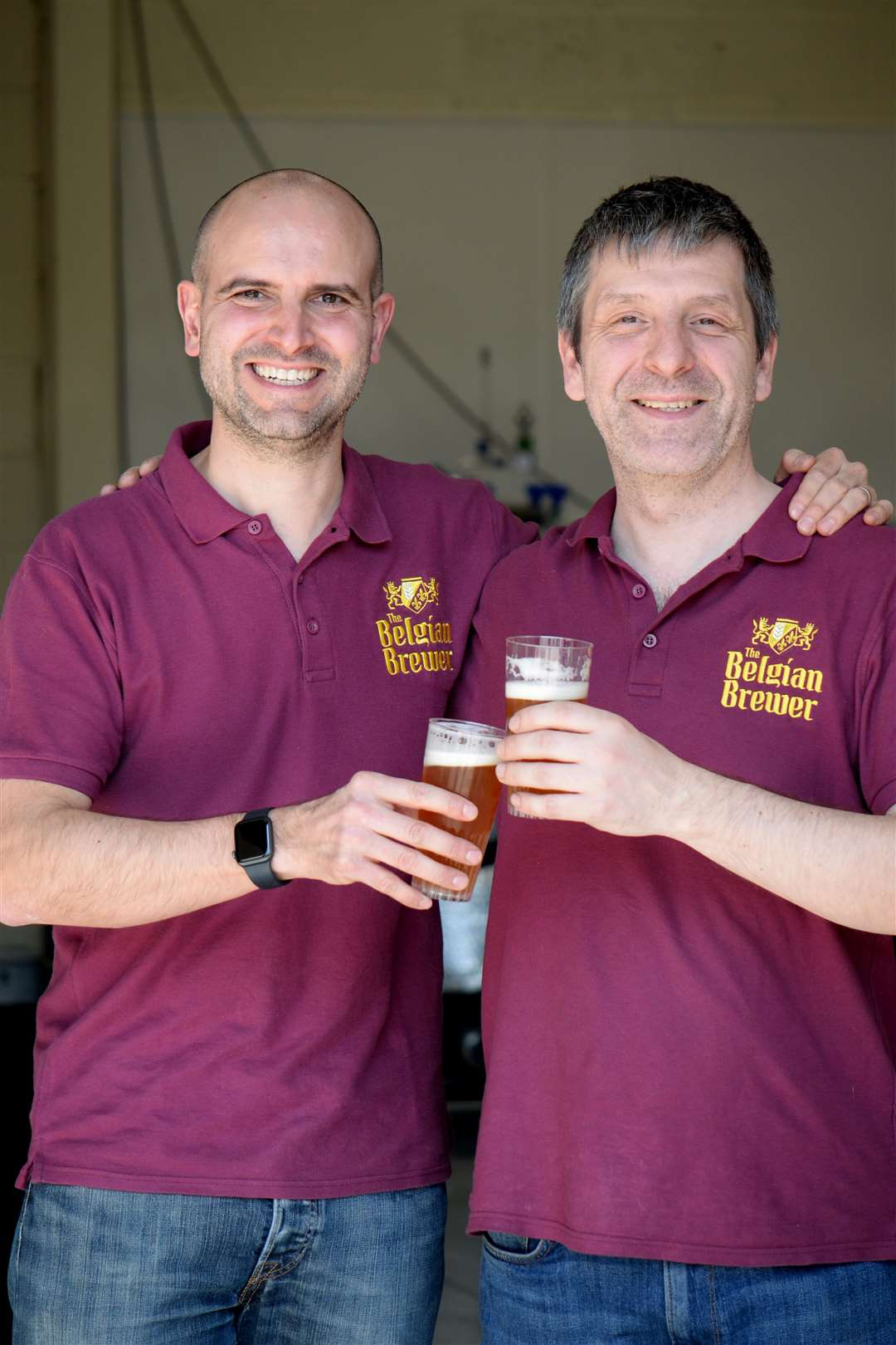 Raynham Road, Bishops Stortford. Official opening for new micro brewery The Belgian Brewer. l-r: Scott Williams and Nik Lemmens. .Pic: Vikki Lince. (9092071)
