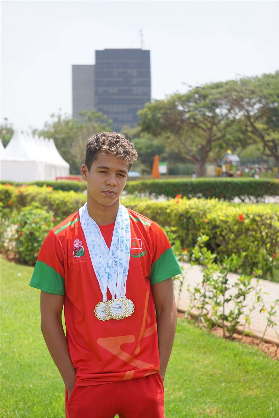 Mehdi El Mansar won eight medals at the 14th Arab Junior Swimming Championships (16010520)