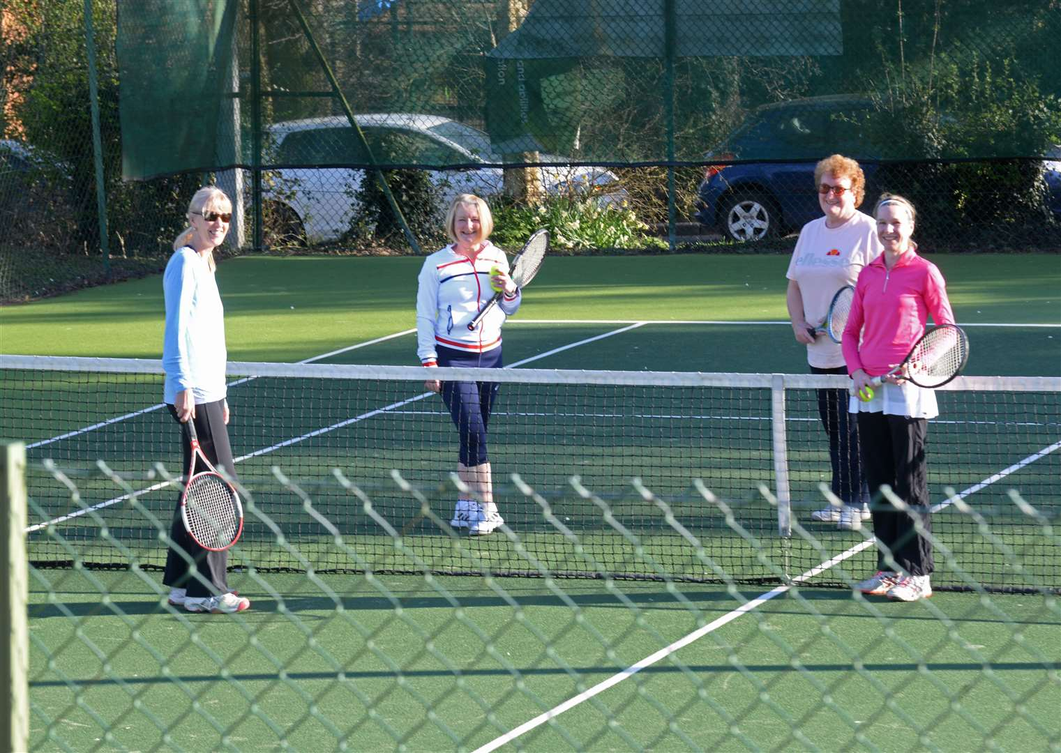 Members back on court at Bishop's Stortford Lawn Tennis Club on Monday .Pic: Vikki Lince. (45644030)