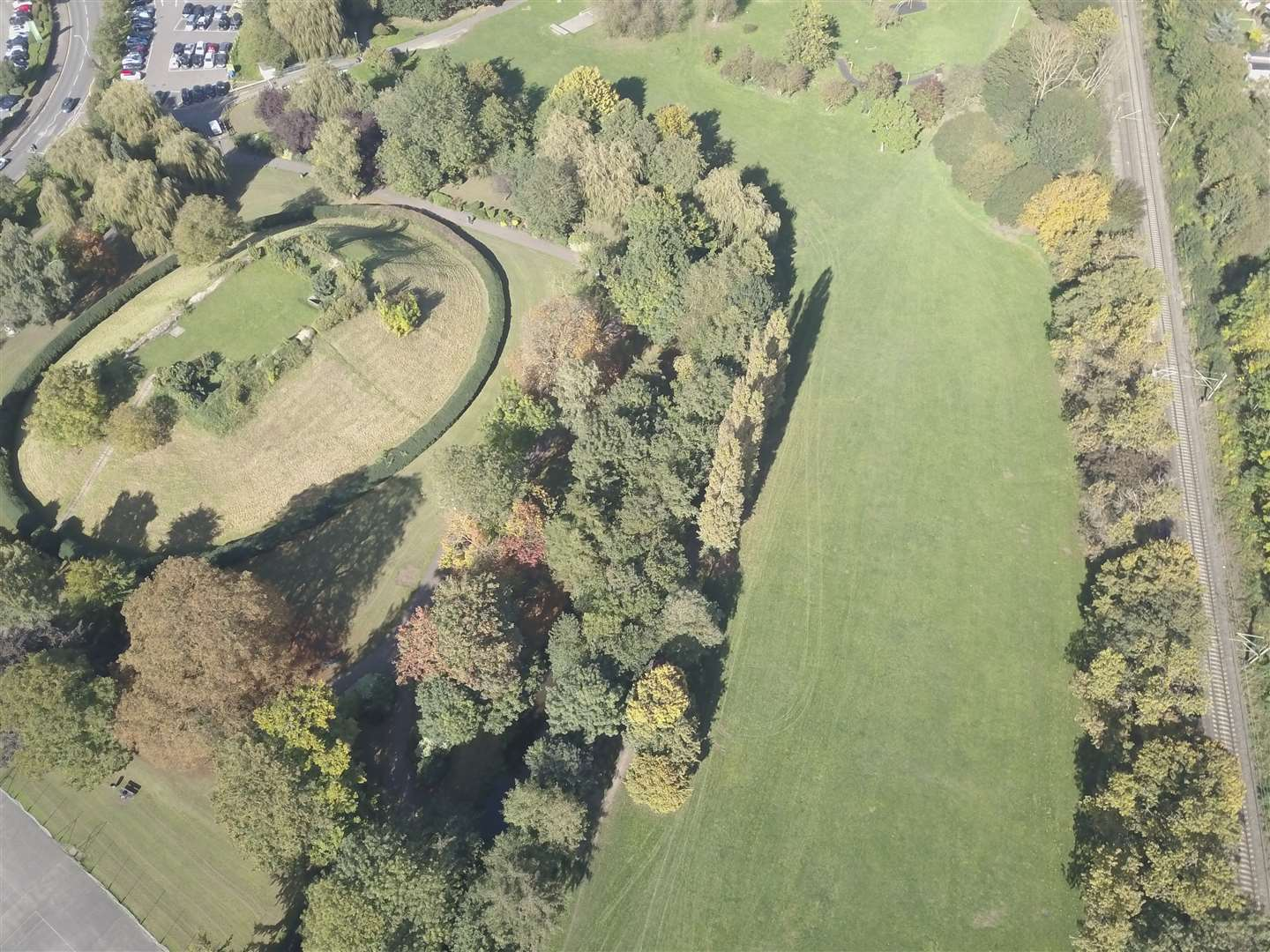 Aerial shot of Sworder's Field and Castle Mound for Castle Park project. (12697324)