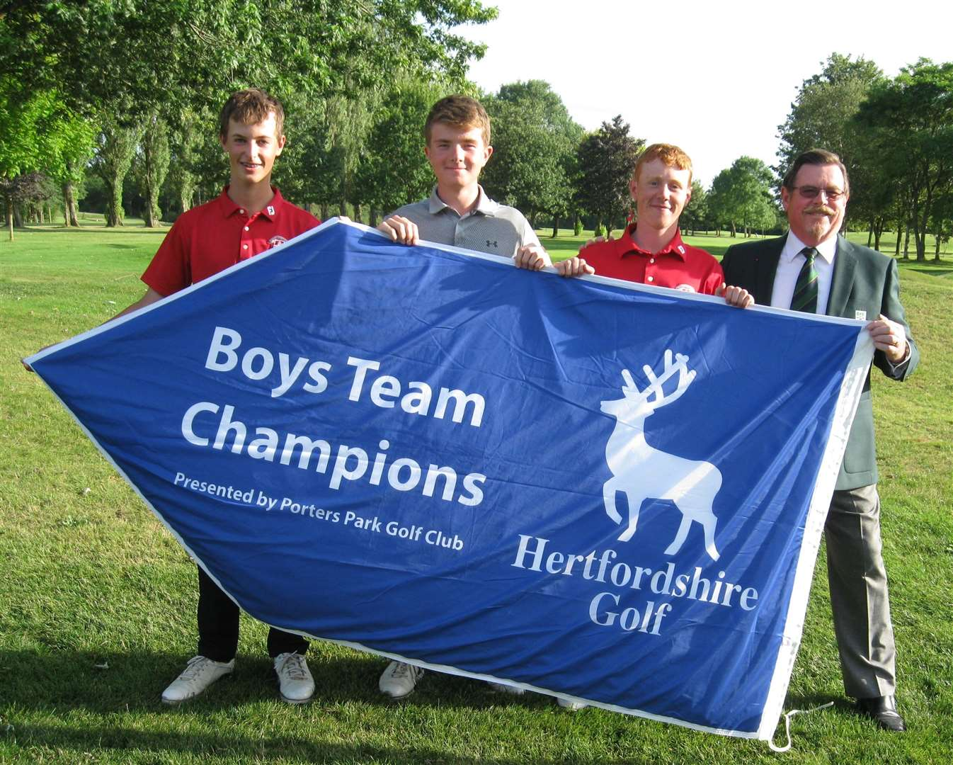 From left, Ollie Brunt, George Durkan, George Wright and Bishop's Stortford Golf Club captain Terry Jack (14798401)
