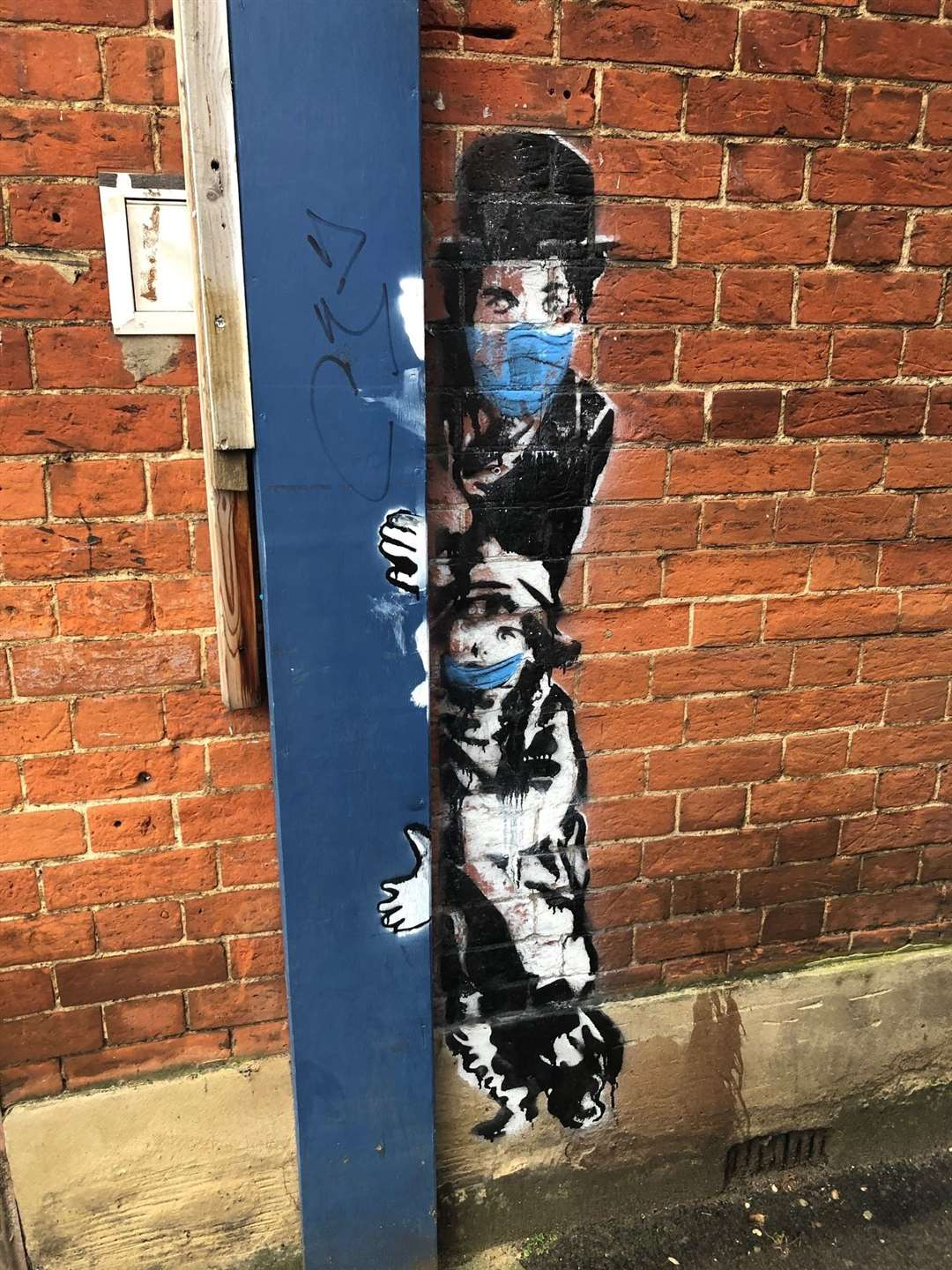 The Charlie Chaplin street art by WHSmith in Stortford's high street (43339057)