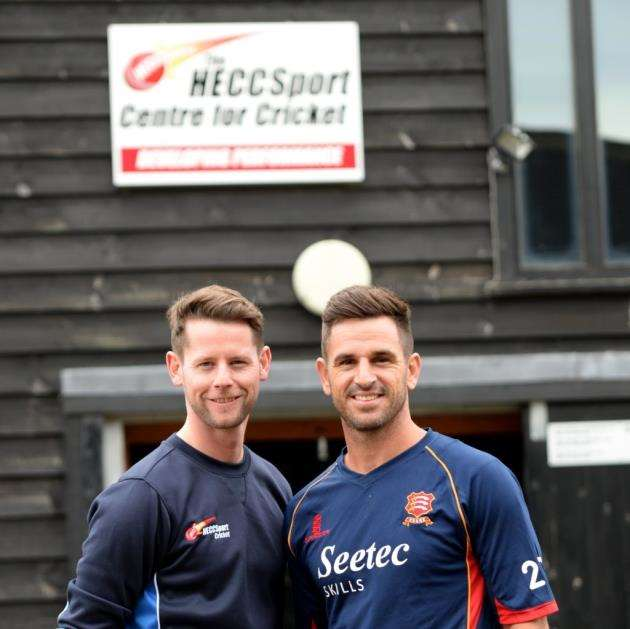 Essex captain Ryan ten Doeschate, right, with Herts and Essex Cricket Centre manager Luke Humphrey Pictures: Vikki Lince