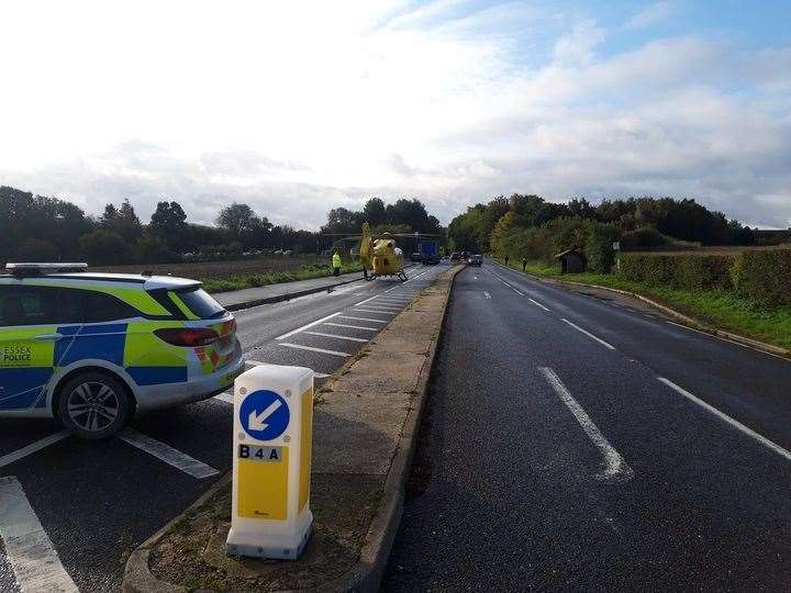 The stretch of the B1383 at Wendens Ambo that was closed following this morning's accident