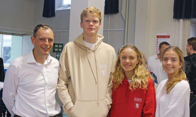 Hockerill Anglo-European College principal Richard Markham with high achievers Dominic Tatchell, Aneshka Moudry and Sophie Hanney, who got the top grade 9 in every GCSE
