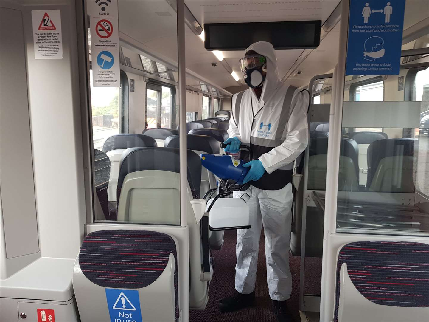 Greater Anglia is using a fogging gun to clean trains (43558451)