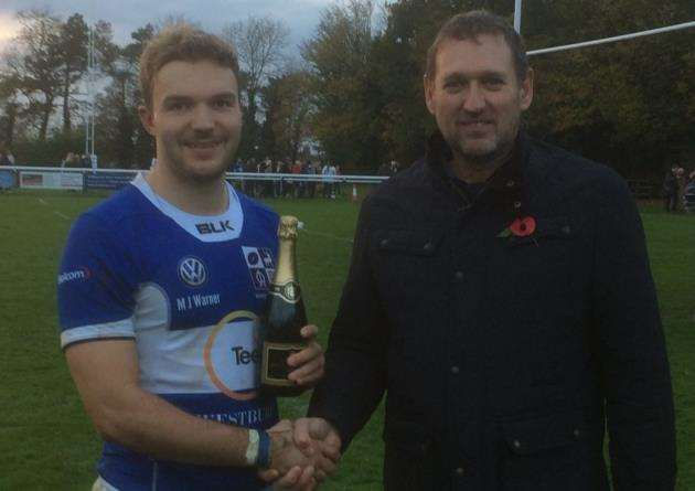Man of the match George Cullen, who kicked three conversions and a penalty, receives his award from Peter Eldon of sponsor Copper 88 UK