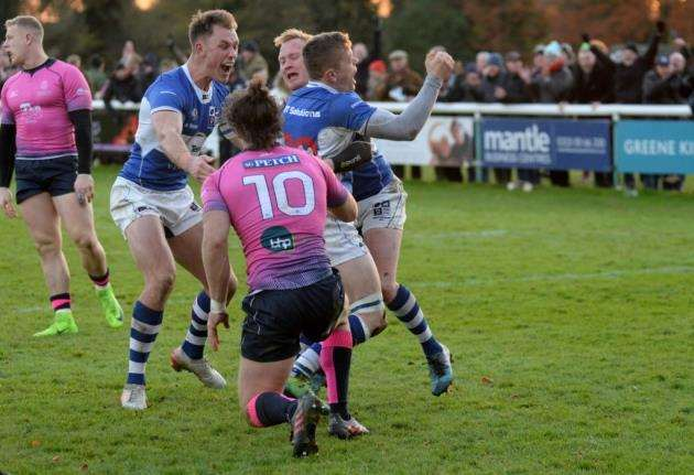 Celebrations after Nick Hankins try levels the score at 22-22 Picture: Vikki Lince