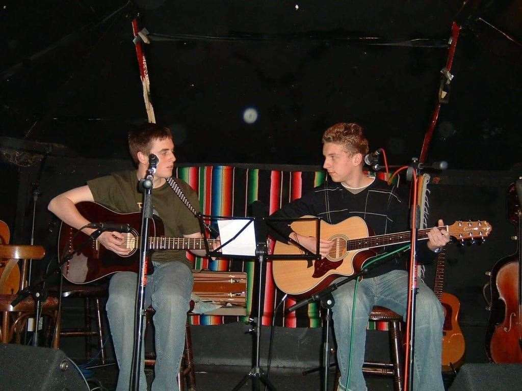 Tom Ryder with Joe Hazell during one of their early gigs at the Bishop's Stortford Acoustic Club at the Half Moon pub in North Street