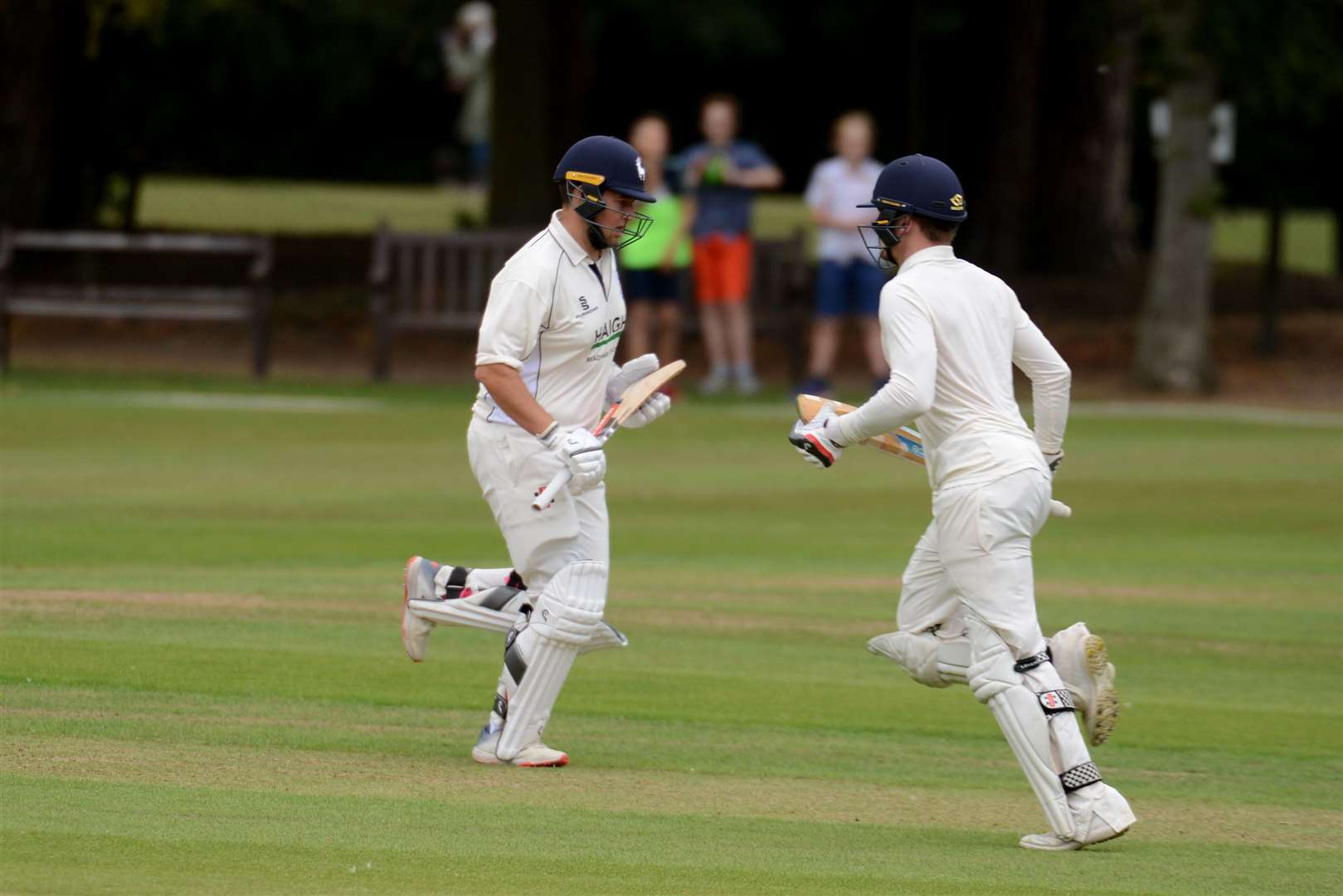 Reece Hussain and Tommy Burslem grab a single against Potters Bar. Picture: Vikki Lince