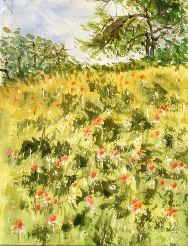 Painting by Geoffrey Ensor for Bishops Stortford Art Society spread in April 11