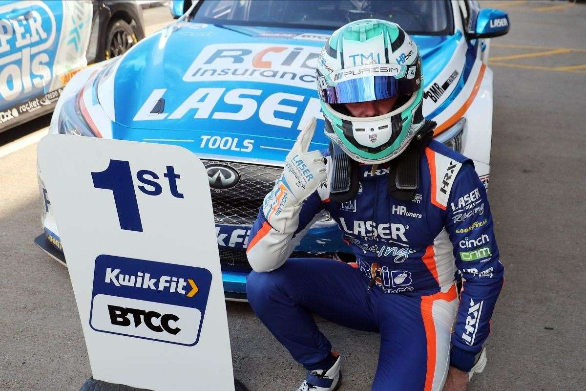 Ashley Sutton celebrates winning race three on the opening weekend of the 2020 Kwik Fit British Touring Car Championship at Donington Park. Picture: Jakob Ebrey Photography (39846559)