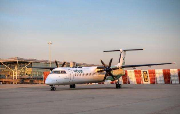 First Wideroe flight from Stansted Airport to Kristiansand in Norway