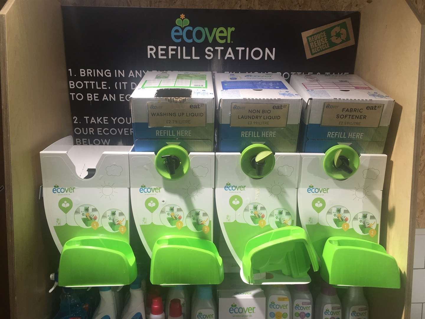 Shoppers can refill their containers for washing-up liquid, non bio laundry liquid and fabric softener (14396429)