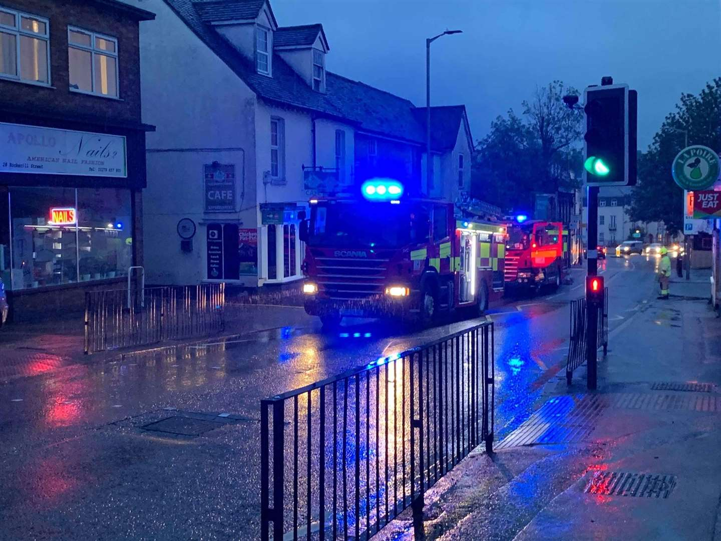 The two fire engines outside Santos cafe and coffee shop in Hockerill StreetPicture: Martin Tyler
