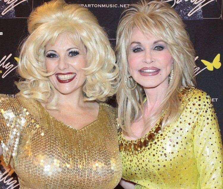 Dolly Parton tribute act Kelly, left, with the real deal (28235696)