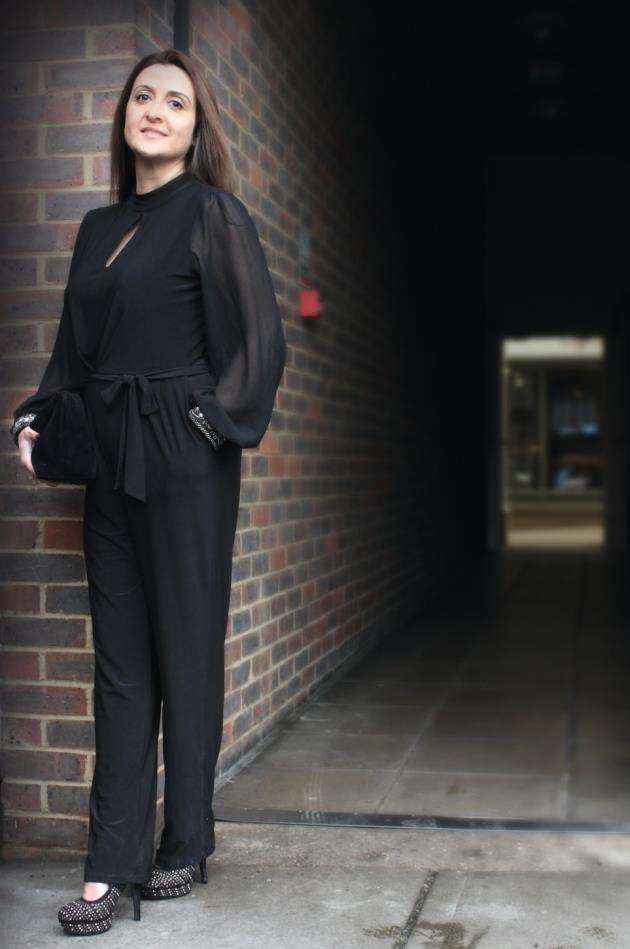 Monsoon black jumpsuit size 12-14 £20, velvet handbag £7, studded shoes size 3 £7 Picture: Sarah Lord