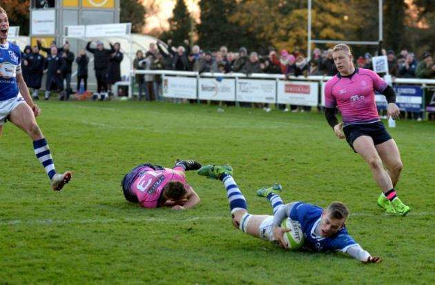 Nick Hankins try saw Stortford come from 22-7 down against visitors Darlington Pic: Vikki Lince