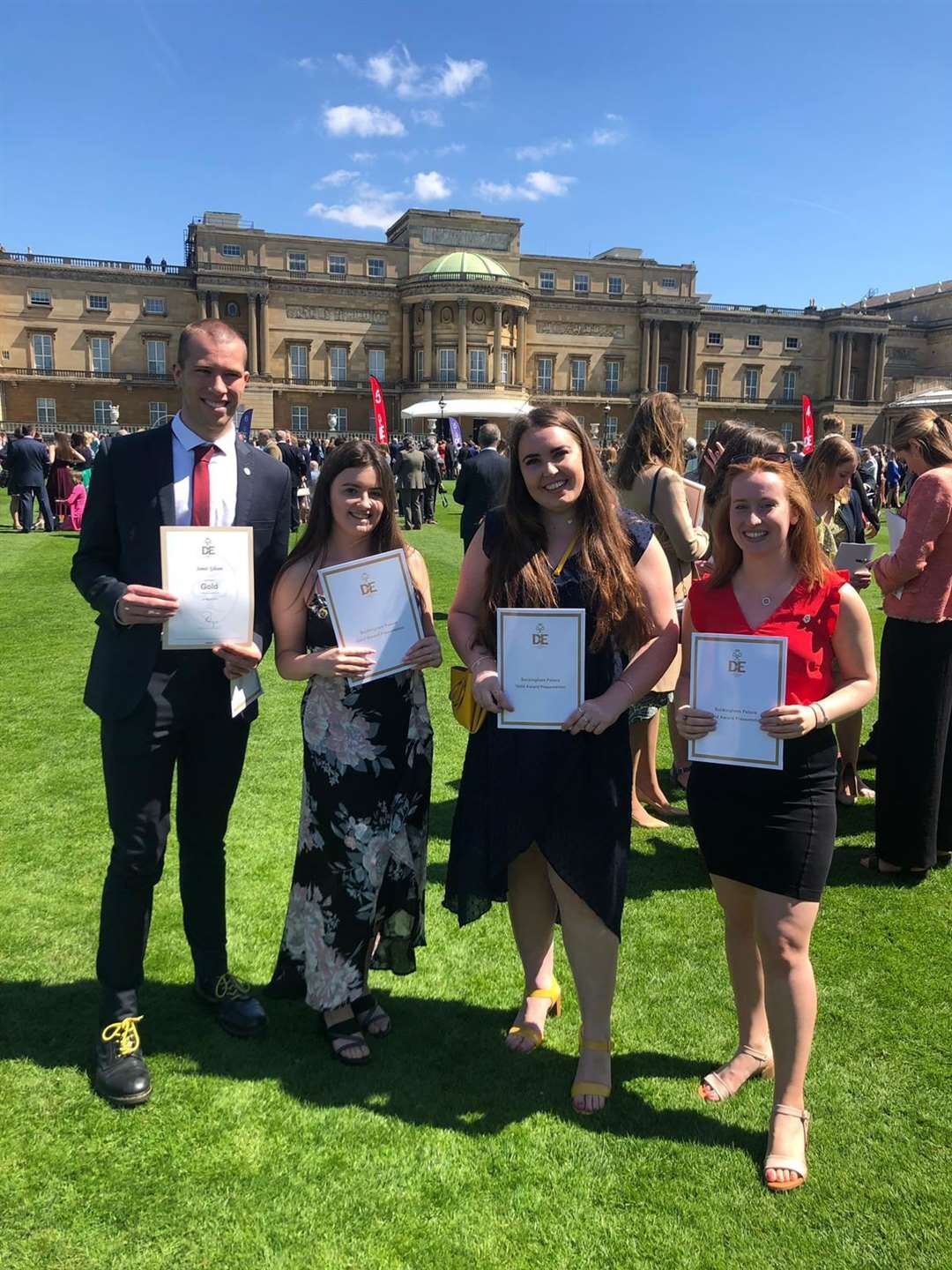 James Gibson, Miranda Kennett, Megan Pointer and Alexandra Foile received their gold Duke of Edinburgh's Awards at Buckingham Palace from Prince Edward (10897939)