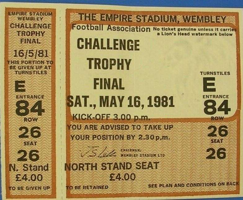 A £4 matchday ticket for the final at Wembley. Picture: George Francis
