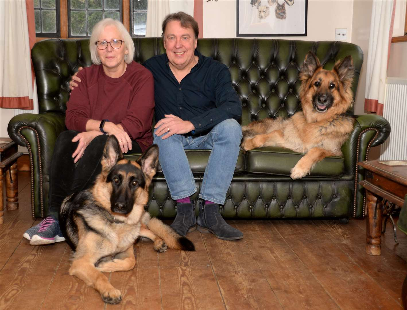 Great Hallingbury. Carl and Val Waring with dogs Ellie and Freddie. Pic: Vikki Lince (28863023)