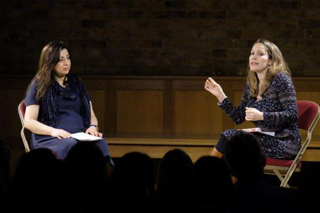 Everyday Sexism project founder Laura Bates, right, in conversation with Hina Belitz