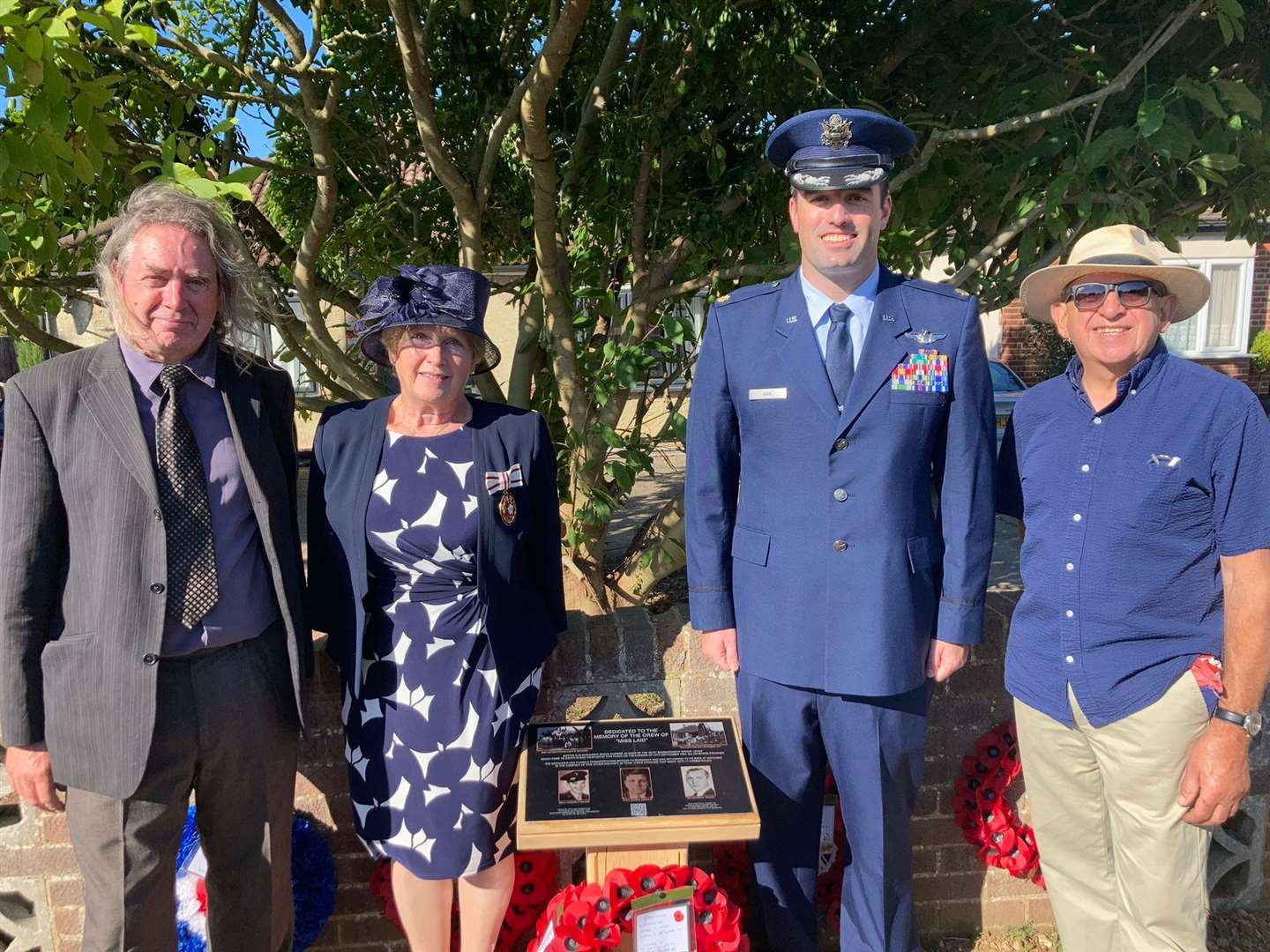 Memorial organisers Mark Ratcliff, left, and Steve Foster, right, with Major David Nan, of the USAF, and Essex Deputy Lord Lieutenant Rosemary Padfield