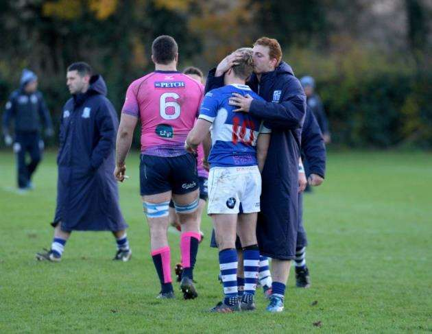George Cullen is consoled after missing his conversion kick for Nick Hankins try Picture: Vikki Lince