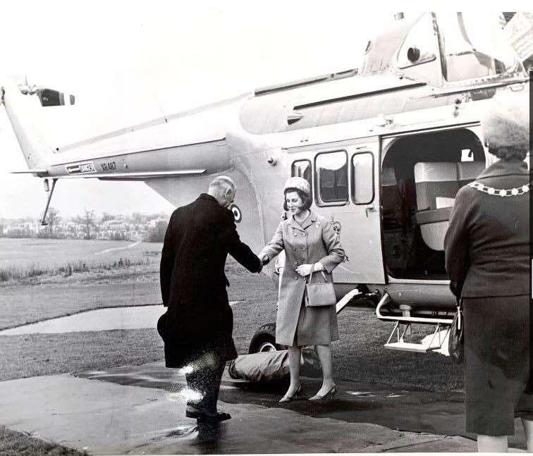 The Princess arrived by helicopter at Harlow heliport on Tuesday, April 27, 1965, in particularly dark and wet weather. Pictures: George Taylor (34043945)