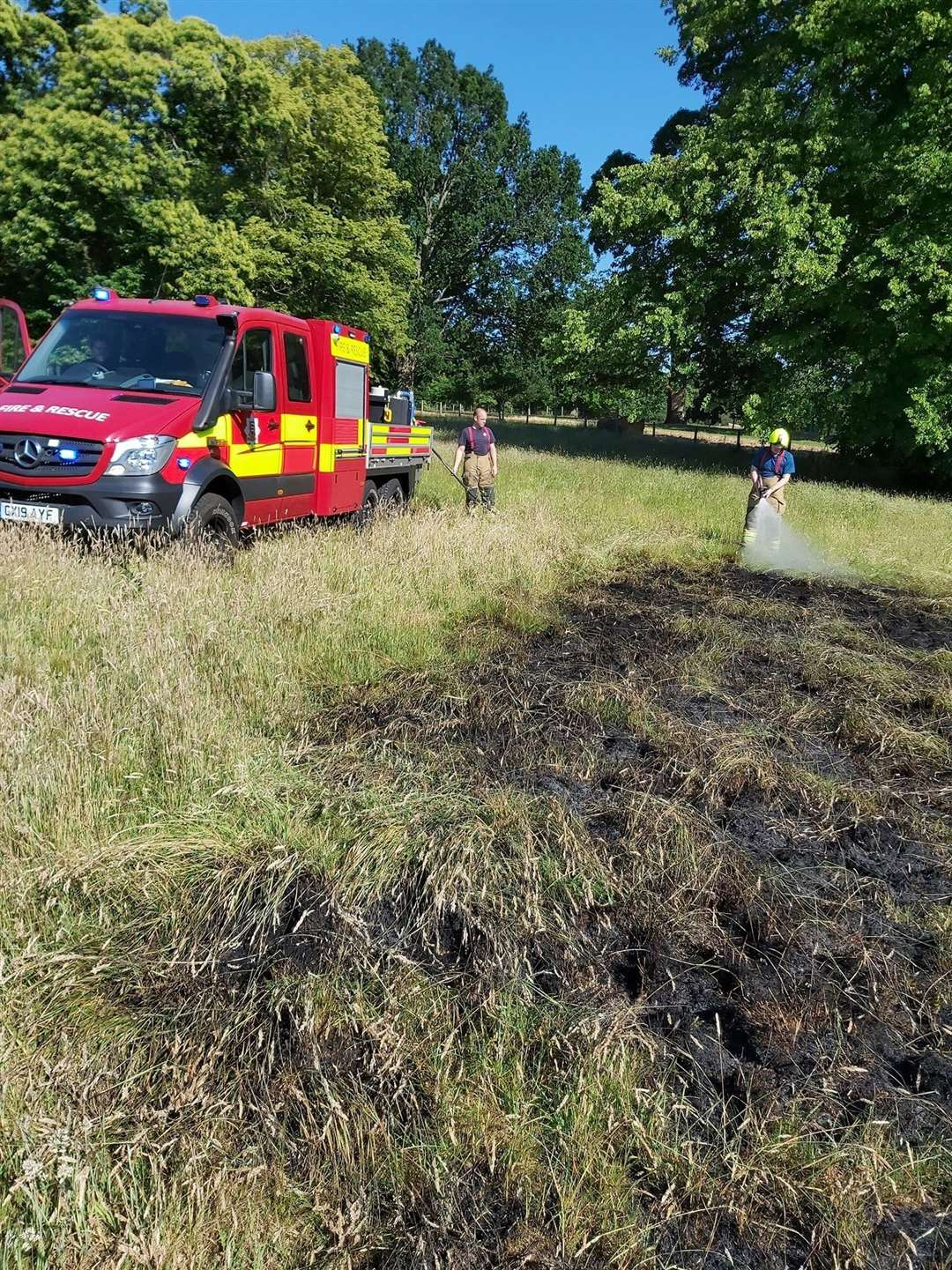 The large grass fire in Newport tackled by Stansted's specialist off-raod vehicle (37468118)