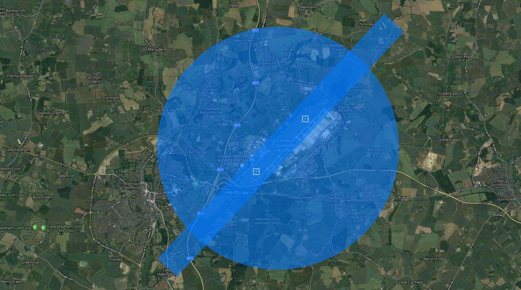 Stansted Airport's no-fly zone for drones (7748010)