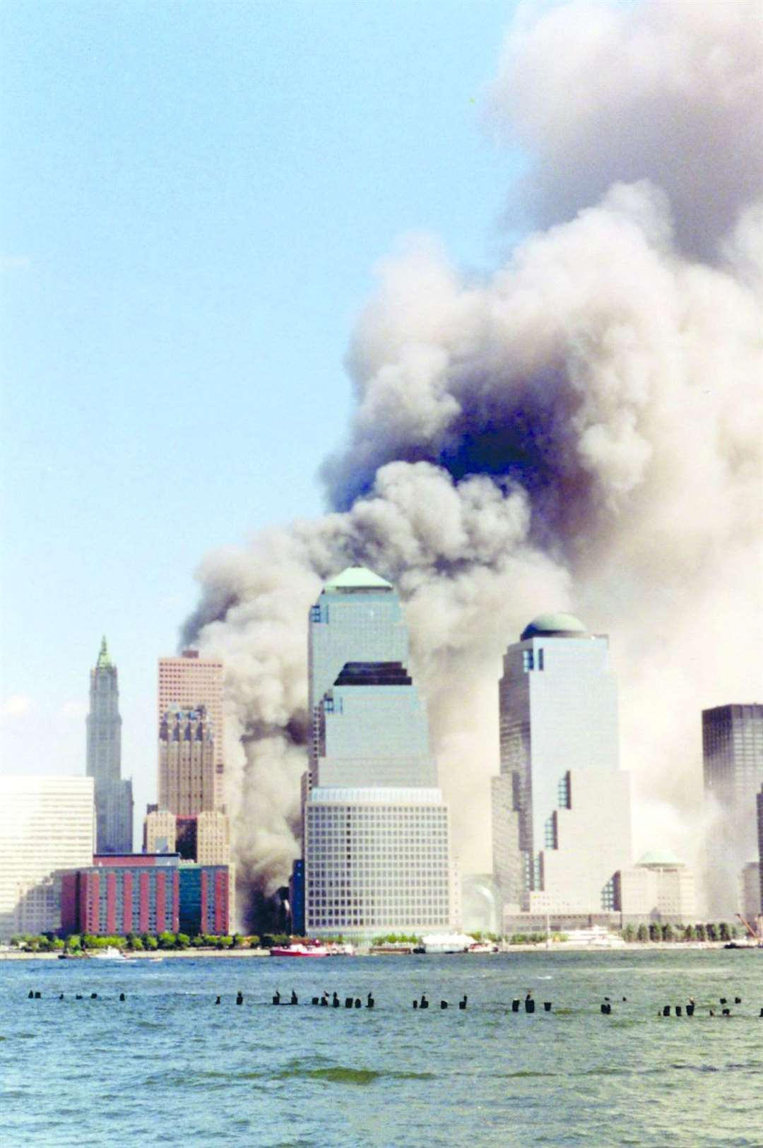 The World Trade Center shortly after the collapse of the Twin Towers on 9/11. Picture: Wally Gobetz