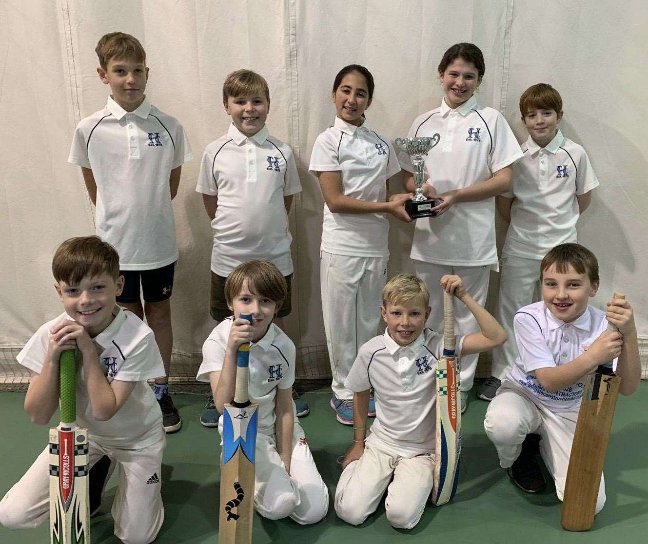 Hockerill Cricket Club's title-winning under-10s. Back row, from left, Tyler Purton, Bear Gatland, Eliza Raja, Megan Laws, Seth Mulvey; front row, from left, Stanley Andrews, Marco Lamont, Jensen Osborne, Barney Wescott