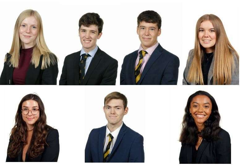 Bishop's Stortford High School's magnificent seven. From left, Jenna Buller, Nathaniel Carn, Jamie Dunne, Abigail Grant, Amy Raymond, Sam Williams and Amelie Wilson (44314375)